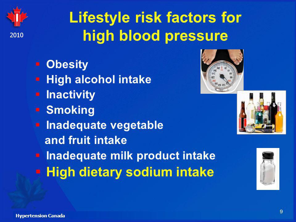 9 Hypertension Canada 2010 Lifestyle risk factors for high blood pressure Obesity High alcohol intake Inactivity Smoking Inadequate vegetable and frui