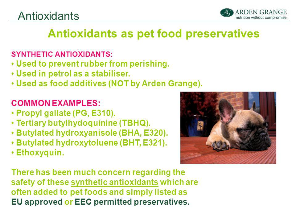 Antioxidants Antioxidants as pet food preservatives SYNTHETIC ANTIOXIDANTS: Used to prevent rubber from perishing.