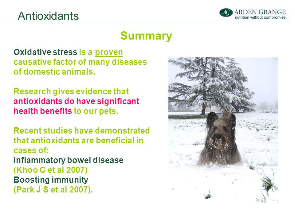 Antioxidants Summary Oxidative stress is a proven causative factor of many diseases of domestic animals.