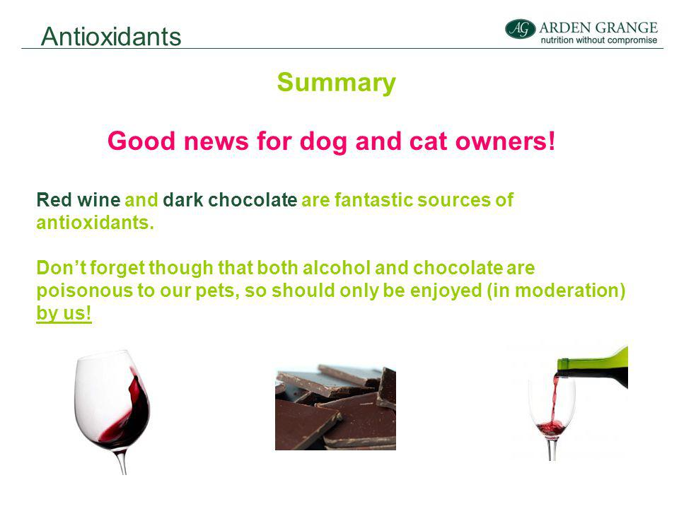 Antioxidants Summary Good news for dog and cat owners.