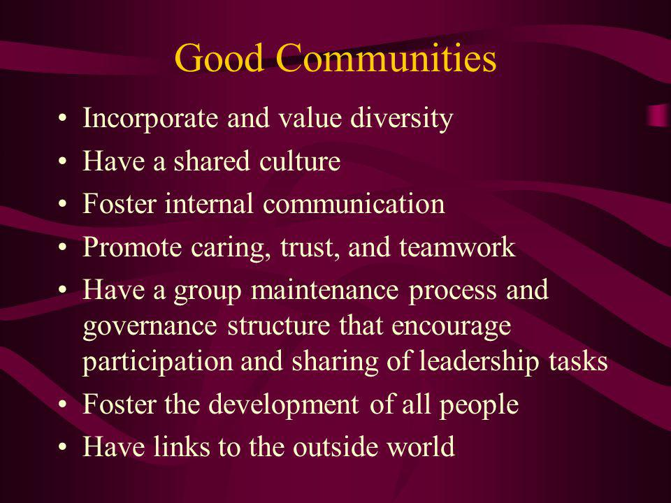 Good Communities Incorporate and value diversity Have a shared culture Foster internal communication Promote caring, trust, and teamwork Have a group
