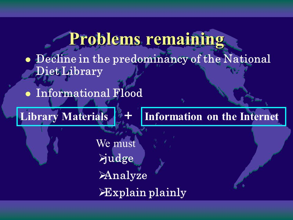 Problems remaining Decline in the predominancy of the National Diet Library Lagisrature Secretariat and Legislative Bureau of the House of Representatives Secretariat and Legislative Bureau of the House of Councillors Think tanks Competitors