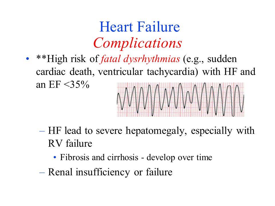 Heart Failure Complications **High risk of fatal dysrhythmias (e.g., sudden cardiac death, ventricular tachycardia) with HF and an EF <35% –HF lead to