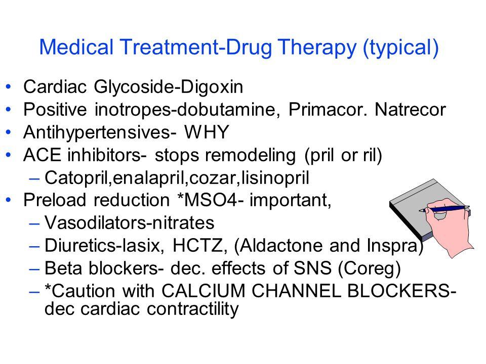 Medical Treatment-Drug Therapy (typical) Cardiac Glycoside-Digoxin Positive inotropes-dobutamine, Primacor. Natrecor Antihypertensives- WHY ACE inhibi