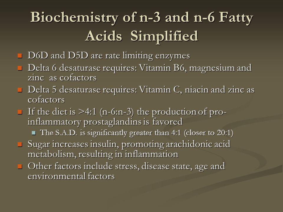 Biochemistry of n-3 and n-6 Fatty Acids Simplified D6D and D5D are rate limiting enzymes D6D and D5D are rate limiting enzymes Delta 6 desaturase requires: Vitamin B6, magnesium and zinc as cofactors Delta 6 desaturase requires: Vitamin B6, magnesium and zinc as cofactors Delta 5 desaturase requires: Vitamin C, niacin and zinc as cofactors Delta 5 desaturase requires: Vitamin C, niacin and zinc as cofactors If the diet is >4:1 (n-6:n-3) the production of pro- inflammatory prostaglandins is favored If the diet is >4:1 (n-6:n-3) the production of pro- inflammatory prostaglandins is favored The S.A.D.