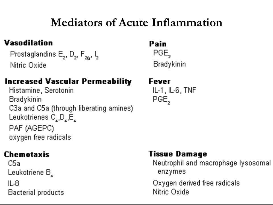 Mediators of Acute Inflammation