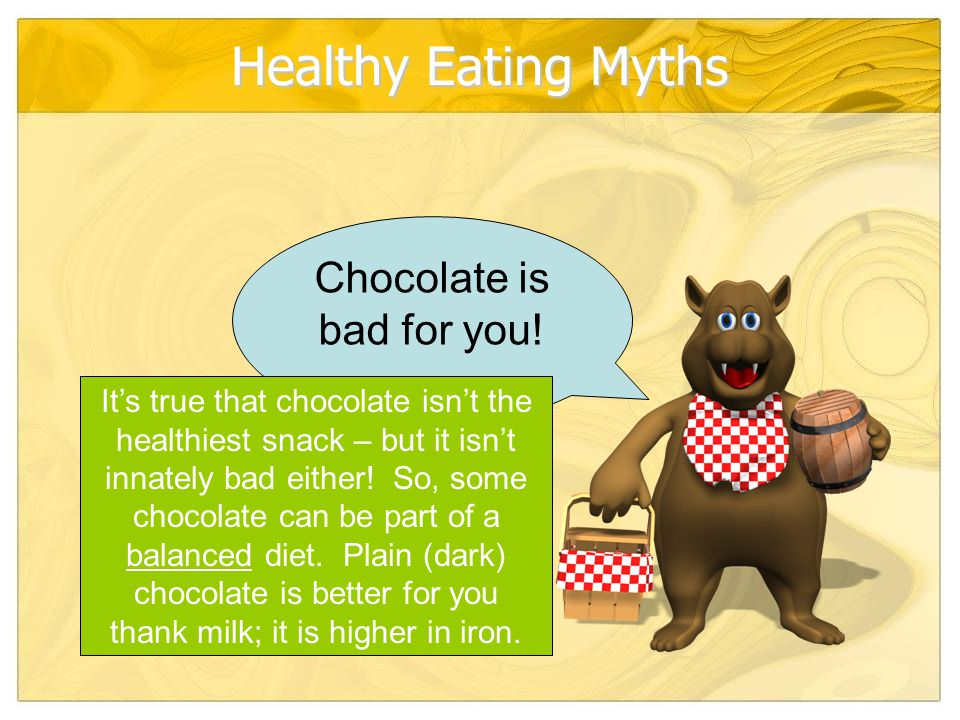 Healthy Eating Myths Chocolate is bad for you.