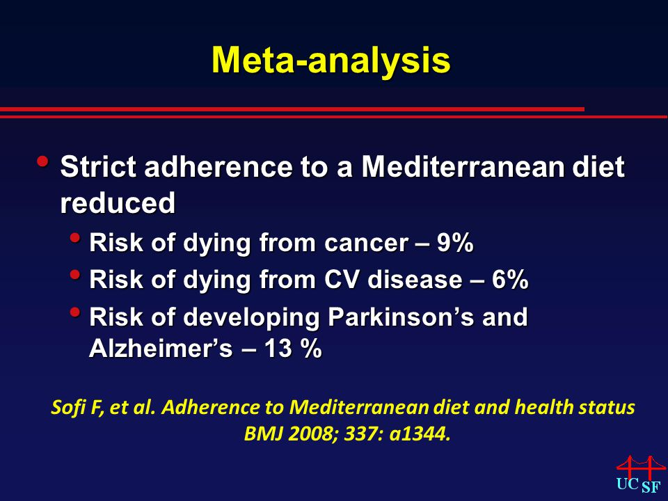 Meta-analysis Strict adherence to a Mediterranean diet reduced Strict adherence to a Mediterranean diet reduced Risk of dying from cancer – 9% Risk of dying from cancer – 9% Risk of dying from CV disease – 6% Risk of dying from CV disease – 6% Risk of developing Parkinsons and Alzheimers – 13 % Risk of developing Parkinsons and Alzheimers – 13 % Sofi F, et al.