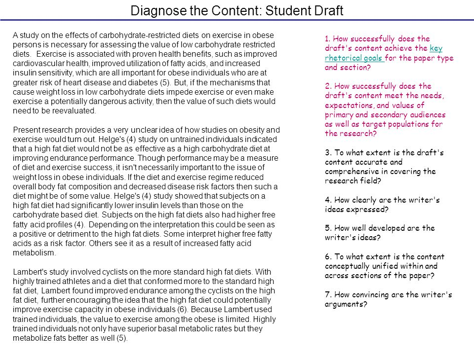 Diagnose the Content: Student Draft 1.
