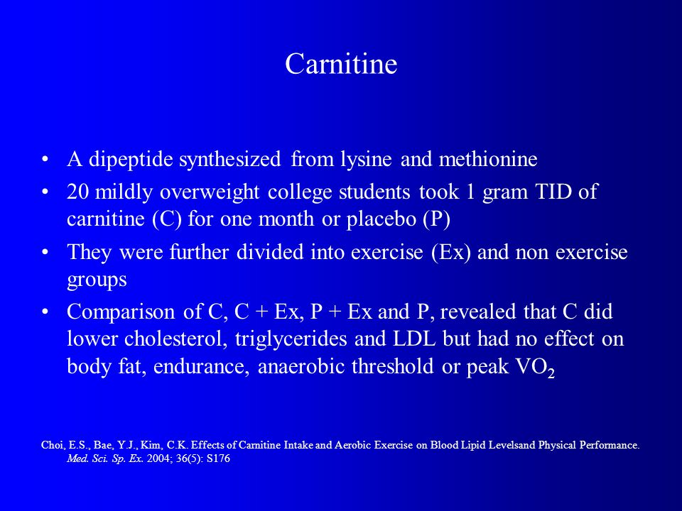 Carnitine A dipeptide synthesized from lysine and methionine 20 mildly overweight college students took 1 gram TID of carnitine (C) for one month or placebo (P) They were further divided into exercise (Ex) and non exercise groups Comparison of C, C + Ex, P + Ex and P, revealed that C did lower cholesterol, triglycerides and LDL but had no effect on body fat, endurance, anaerobic threshold or peak VO 2 Choi, E.S., Bae, Y.J., Kim, C.K.