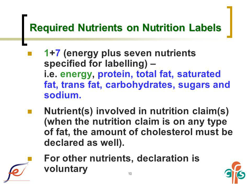 10 Required Nutrients on Nutrition Labels 1+7 (energy plus seven nutrients specified for labelling) – i.e. energy, protein, total fat, saturated fat,