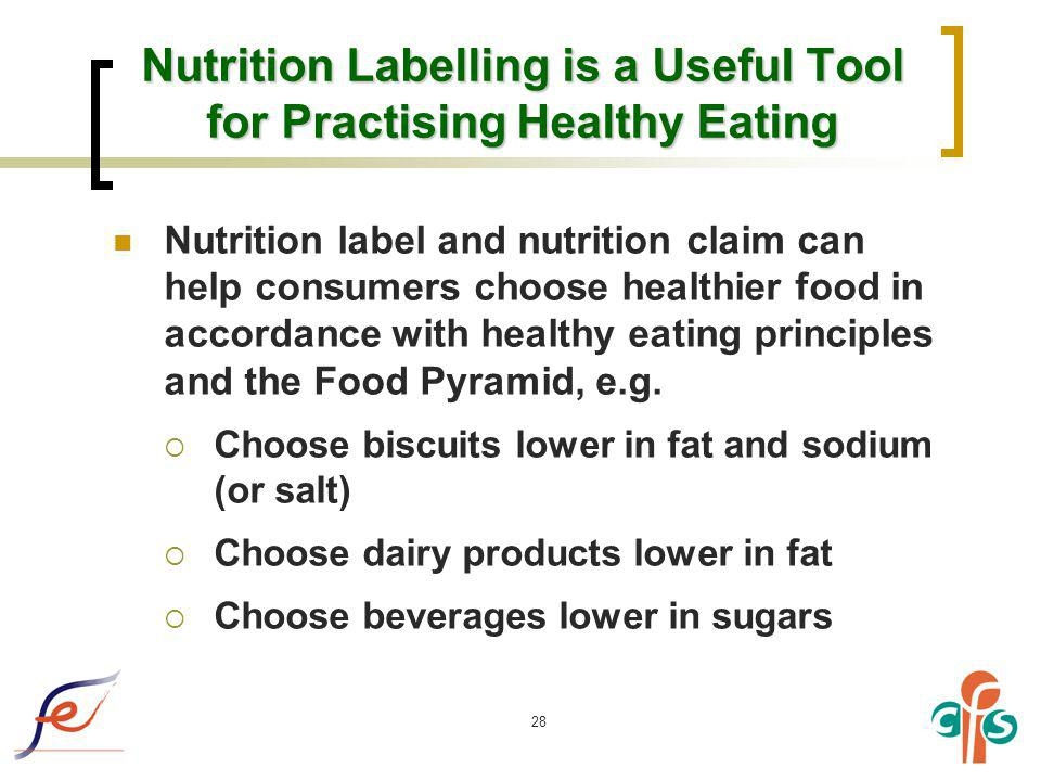 28 Nutrition Labelling is a Useful Tool for Practising Healthy Eating Nutrition label and nutrition claim can help consumers choose healthier food in