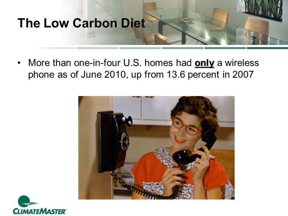The Low Carbon Diet onlyMore than one-in-four U.S. homes had only a wireless phone as of June 2010, up from 13.6 percent in 2007