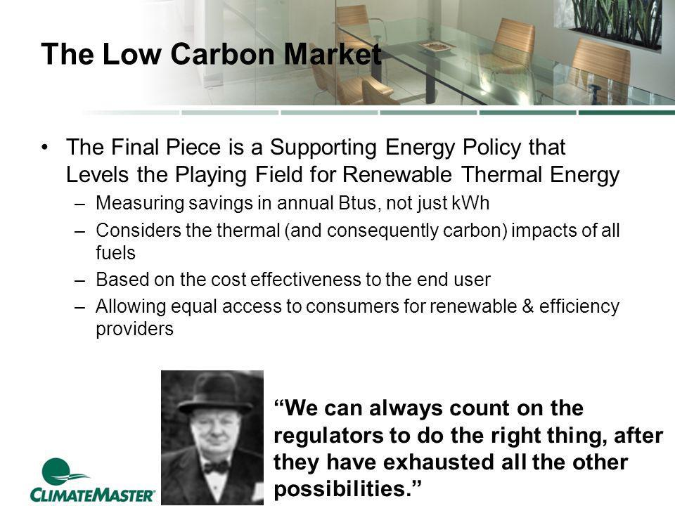 The Low Carbon Market The Final Piece is a Supporting Energy Policy that Levels the Playing Field for Renewable Thermal Energy –Measuring savings in a