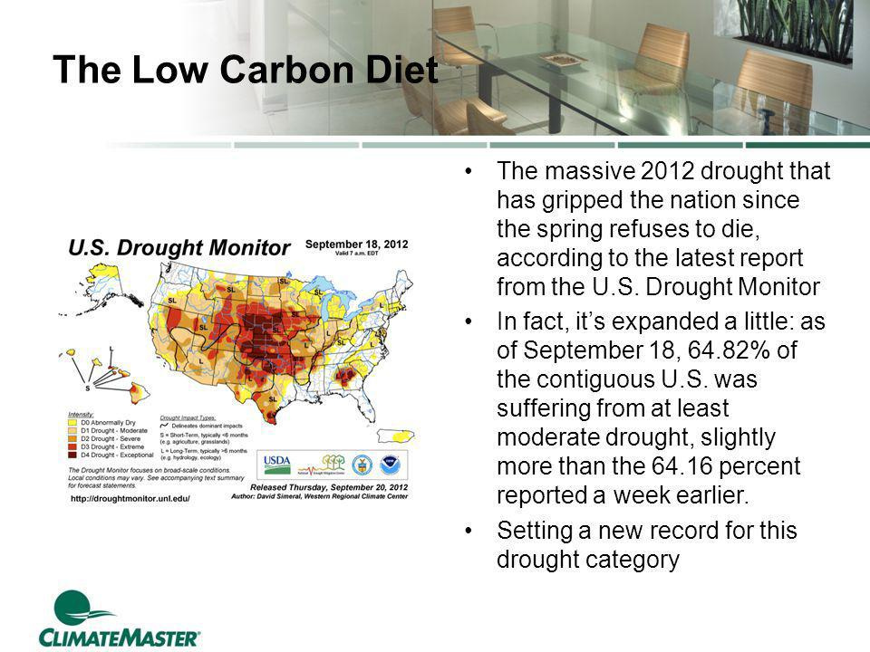 The Low Carbon Diet The massive 2012 drought that has gripped the nation since the spring refuses to die, according to the latest report from the U.S.