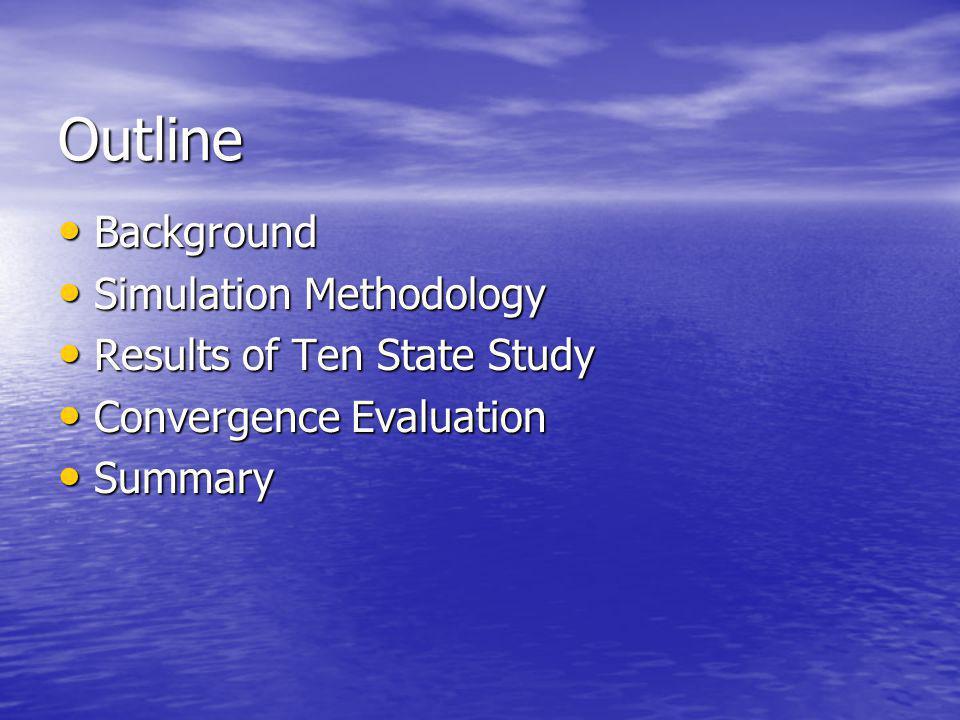 Outline Background Background Simulation Methodology Simulation Methodology Results of Ten State Study Results of Ten State Study Convergence Evaluati