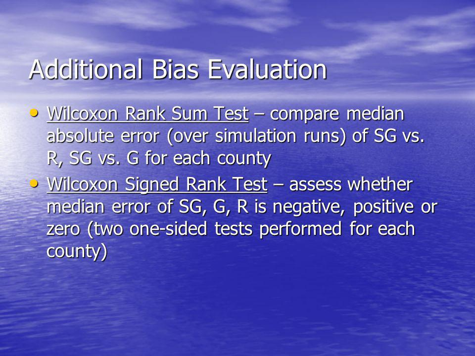 Additional Bias Evaluation Wilcoxon Rank Sum Test – compare median absolute error (over simulation runs) of SG vs.