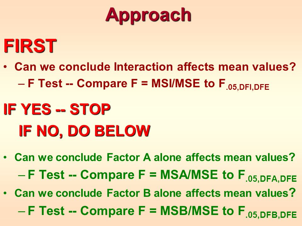 ApproachFIRST Can we conclude Interaction affects mean values? –F Test -- Compare F = MSI/MSE to F.05,DFI,DFE IF YES -- STOP IF NO, DO BELOW IF NO, DO