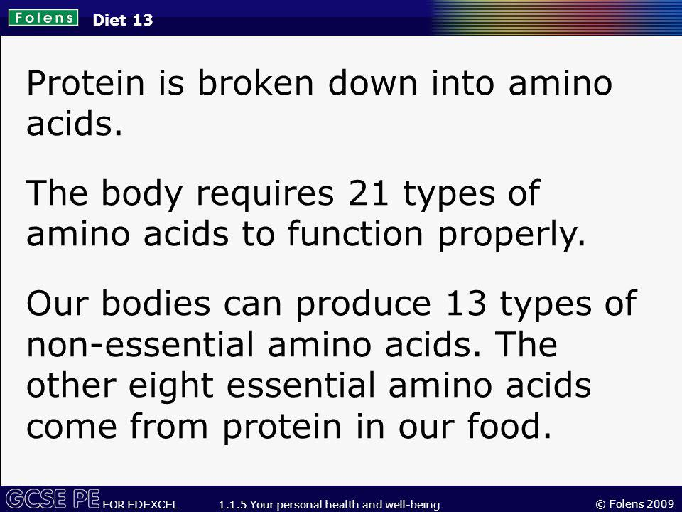 © Folens 2009 FOR EDEXCEL 1.1.5 Your personal health and well-being Protein is broken down into amino acids.