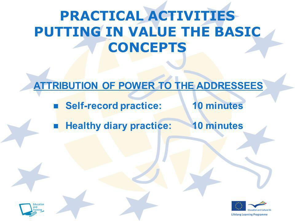 PRACTICAL ACTIVITIES PUTTING IN VALUE THE BASIC CONCEPTS ATTRIBUTION OF POWER TO THE ADDRESSEES Self-record practice:10 minutes Healthy diary practice:10 minutes