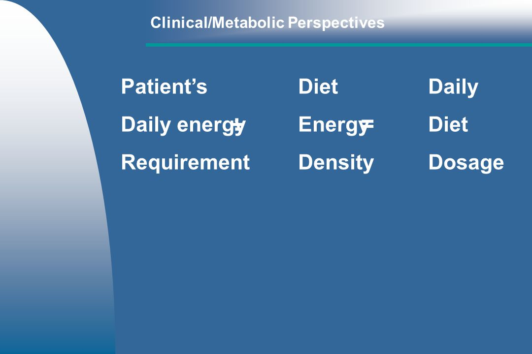 PatientsDietDaily Daily energyEnergyDiet RequirementDensityDosage Clinical/Metabolic Perspectives ÷ =