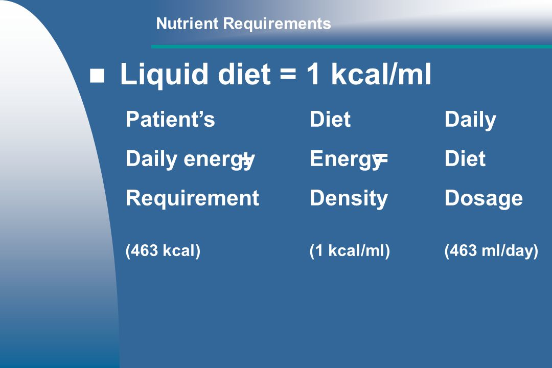 PatientsDietDaily Daily energyEnergyDiet RequirementDensityDosage (463 kcal)(1 kcal/ml)(463 ml/day) ÷ = Nutrient Requirements Liquid diet = 1 kcal/ml