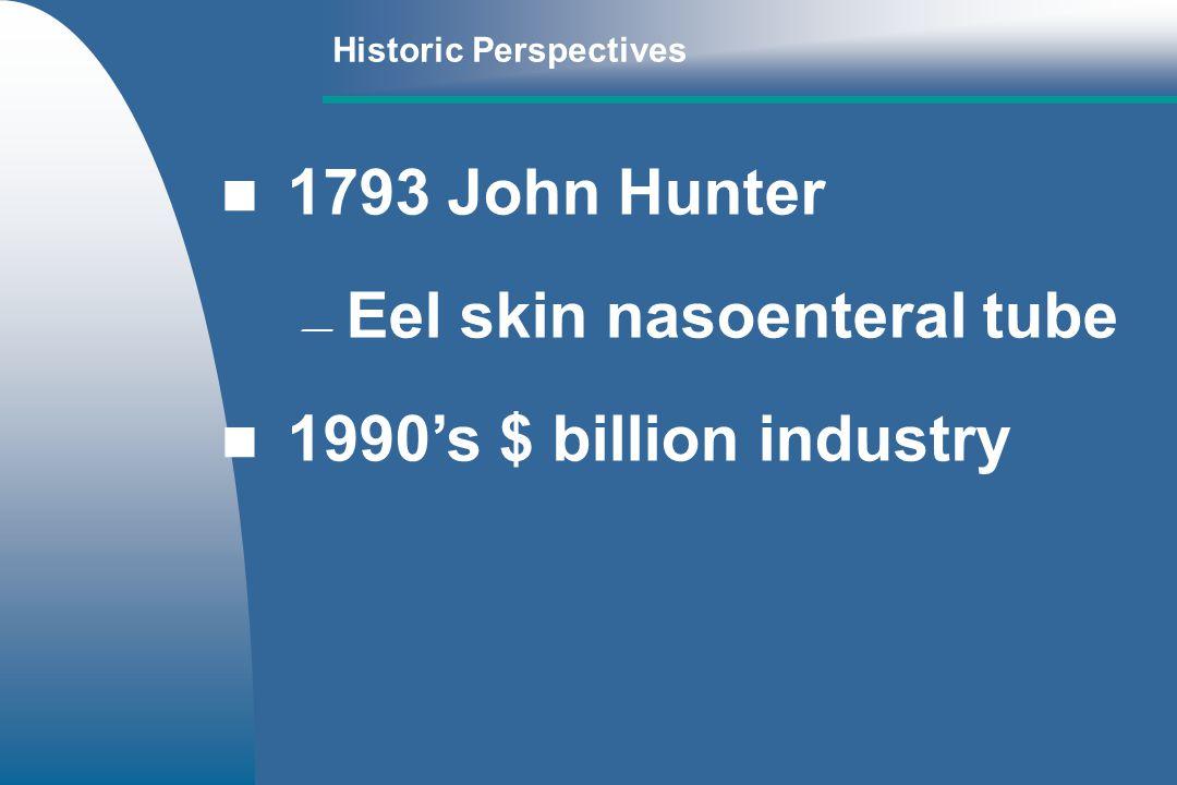 Historic Perspectives 1793 John Hunter Eel skin nasoenteral tube 1990s $ billion industry