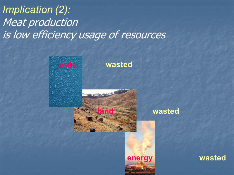 Implication (2): Meat production is low efficiency usage of resources waterwasted landwasted energywasted
