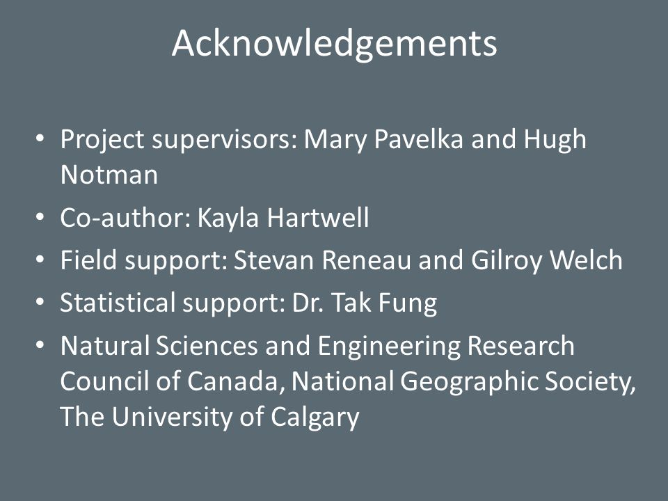 Acknowledgements Project supervisors: Mary Pavelka and Hugh Notman Co-author: Kayla Hartwell Field support: Stevan Reneau and Gilroy Welch Statistical support: Dr.