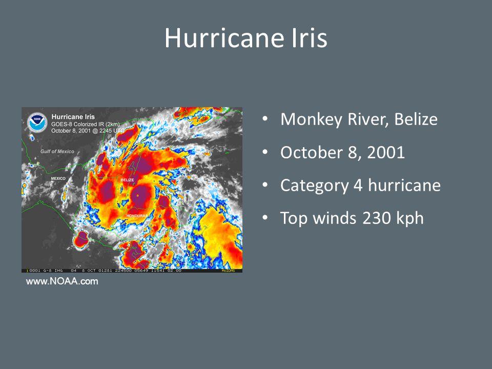 Hurricane Iris Monkey River, Belize October 8, 2001 Category 4 hurricane Top winds 230 kph www.NOAA.com