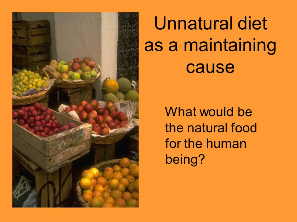 Unnatural diet as a maintaining cause What would be the natural food for the human being?