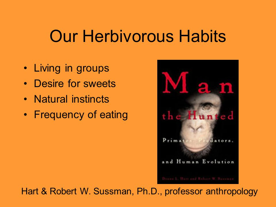 Our Herbivorous Habits Living in groups Desire for sweets Natural instincts Frequency of eating Hart & Robert W. Sussman, Ph.D., professor anthropolog