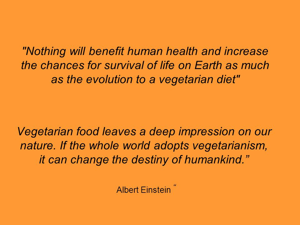 Nothing will benefit human health and increase the chances for survival of life on Earth as much as the evolution to a vegetarian diet Vegetarian food leaves a deep impression on our nature.
