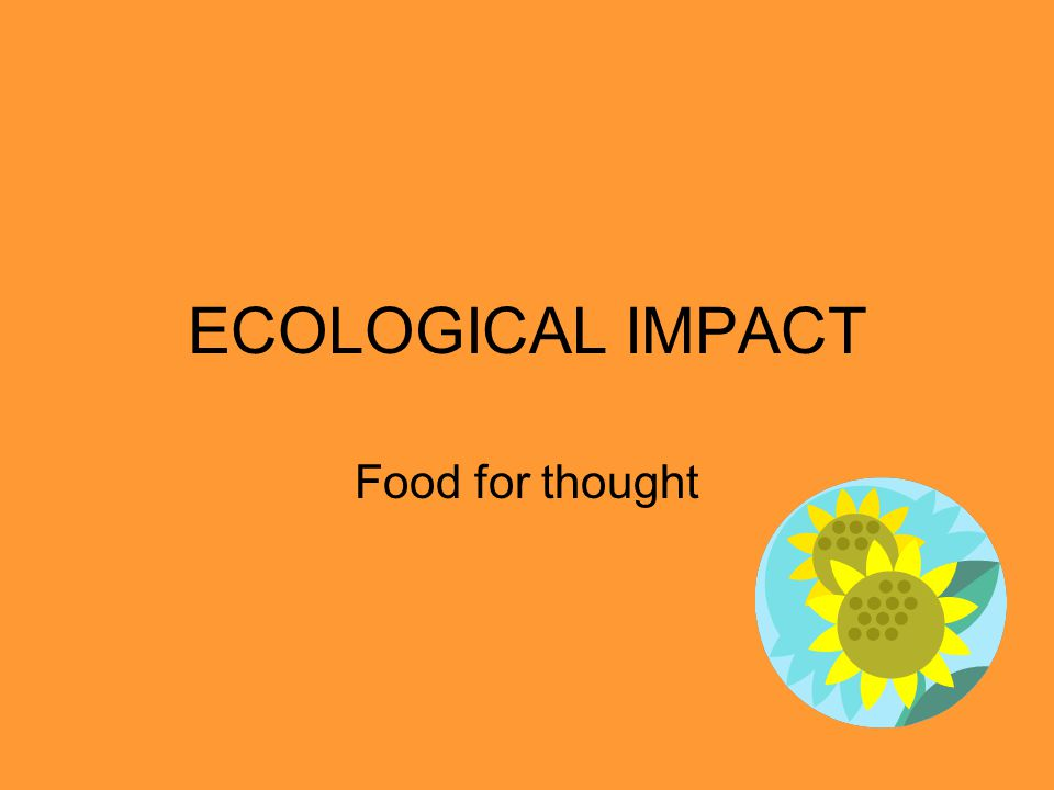 ECOLOGICAL IMPACT Food for thought