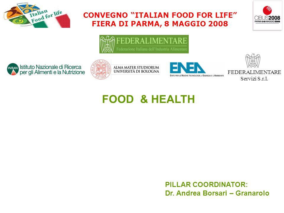 CONVEGNO ITALIAN FOOD FOR LIFE FIERA DI PARMA, 8 MAGGIO 2008 FEDERALIMENTARE Servizi S.r.l.