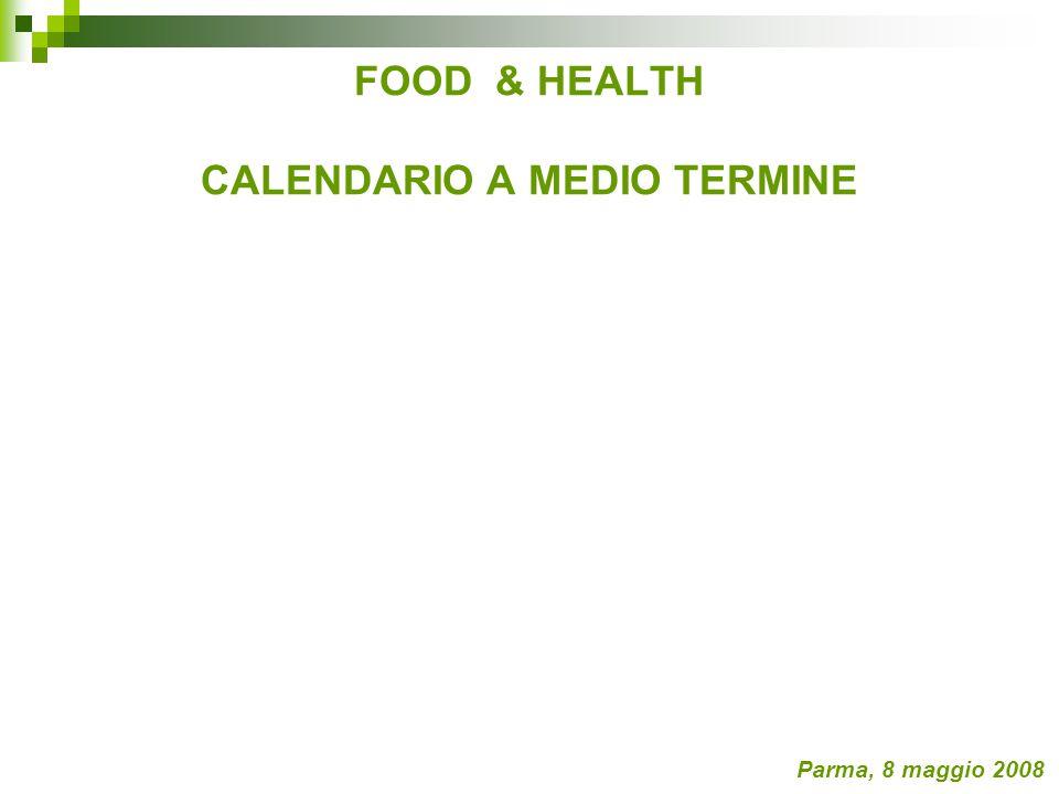 FOOD & HEALTH CALENDARIO A MEDIO TERMINE Parma, 8 maggio 2008