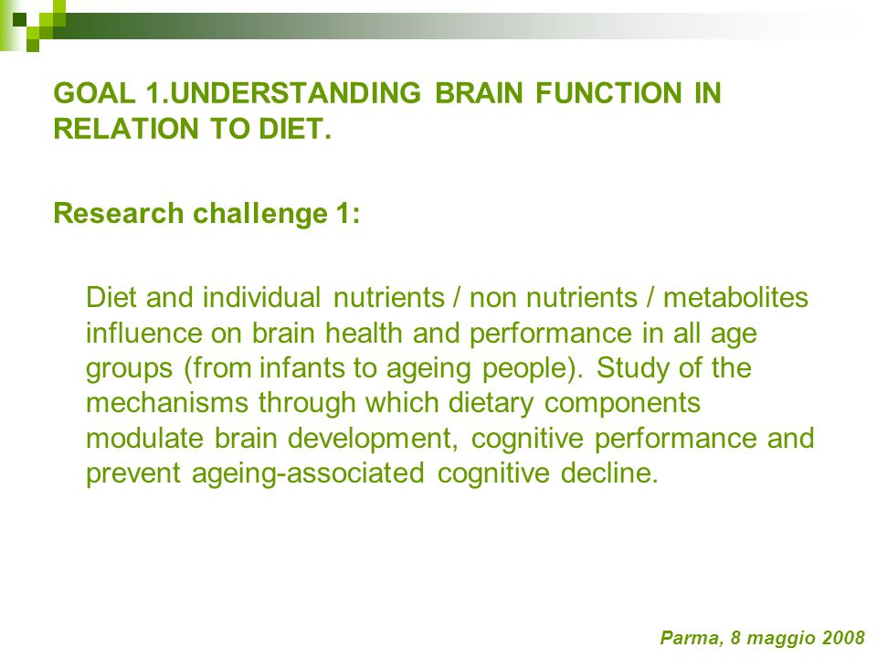 Research challenge 1: Diet and individual nutrients / non nutrients / metabolites influence on brain health and performance in all age groups (from infants to ageing people).