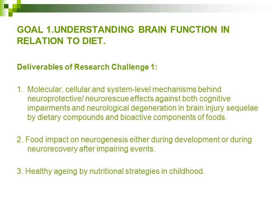 GOAL 1.UNDERSTANDING BRAIN FUNCTION IN RELATION TO DIET.