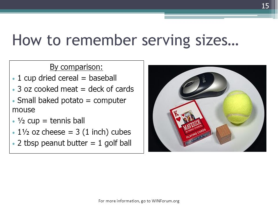 How to remember serving sizes… 15 By comparison: 1 cup dried cereal = baseball 3 oz cooked meat = deck of cards Small baked potato = computer mouse ½ cup = tennis ball 1½ oz cheese = 3 (1 inch) cubes 2 tbsp peanut butter = 1 golf ball For more information, go to WINForum.org