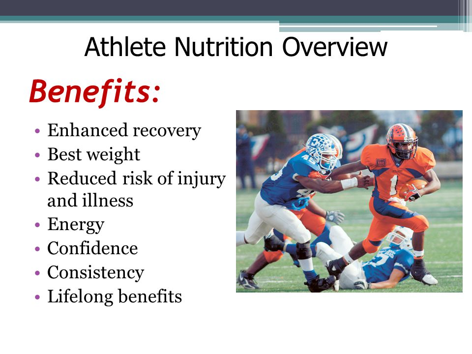 Benefits: Enhanced recovery Best weight Reduced risk of injury and illness Energy Confidence Consistency Lifelong benefits Athlete Nutrition Overview