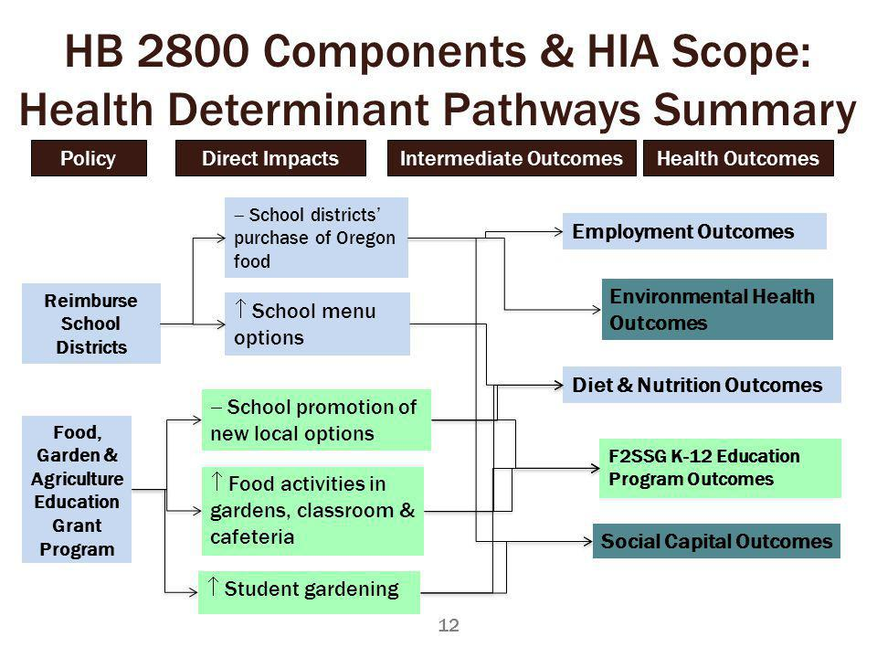 Reimburse School Districts Food, Garden & Agriculture Education Grant Program Student gardening Food activities in gardens, classroom & cafeteria School promotion of new local options Environmental Health Outcomes F2SSG K-12 Education Program Outcomes HB 2800 Components & HIA Scope: Health Determinant Pathways Summary School districts purchase of Oregon food School menu options Employment Outcomes Social Capital Outcomes Diet & Nutrition Outcomes 12 Policy Health Outcomes Direct ImpactsIntermediate Outcomes