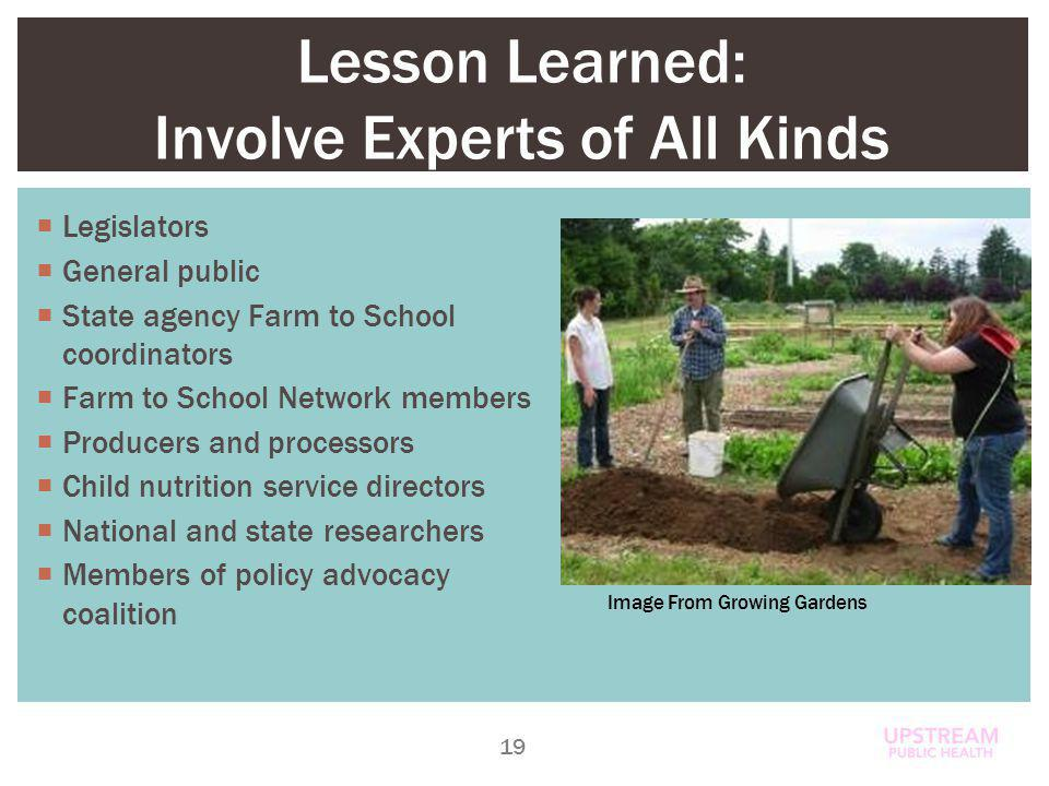 Lesson Learned: Involve Experts of All Kinds Legislators General public State agency Farm to School coordinators Farm to School Network members Producers and processors Child nutrition service directors National and state researchers Members of policy advocacy coalition 19 Image From Growing Gardens