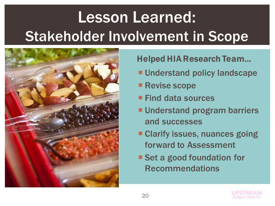 Lesson Learned: Stakeholder Involvement in Scope 20 Helped HIA Research Team… Understand policy landscape Revise scope Find data sources Understand program barriers and successes Clarify issues, nuances going forward to Assessment Set a good foundation for Recommendations