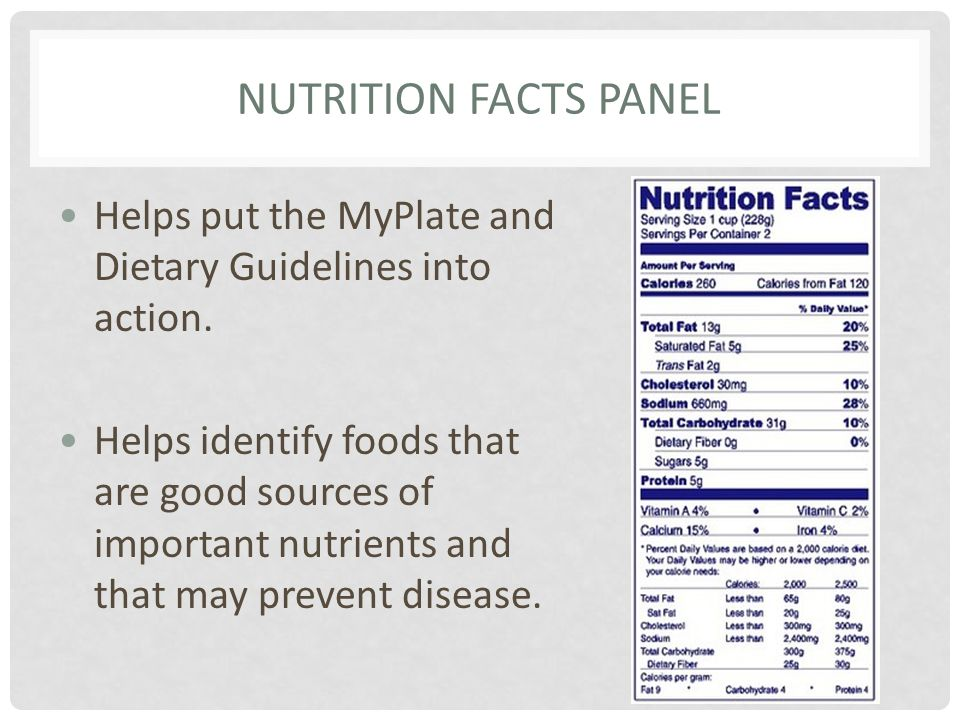 NUTRITION FACTS PANEL Helps put the MyPlate and Dietary Guidelines into action. Helps identify foods that are good sources of important nutrients and