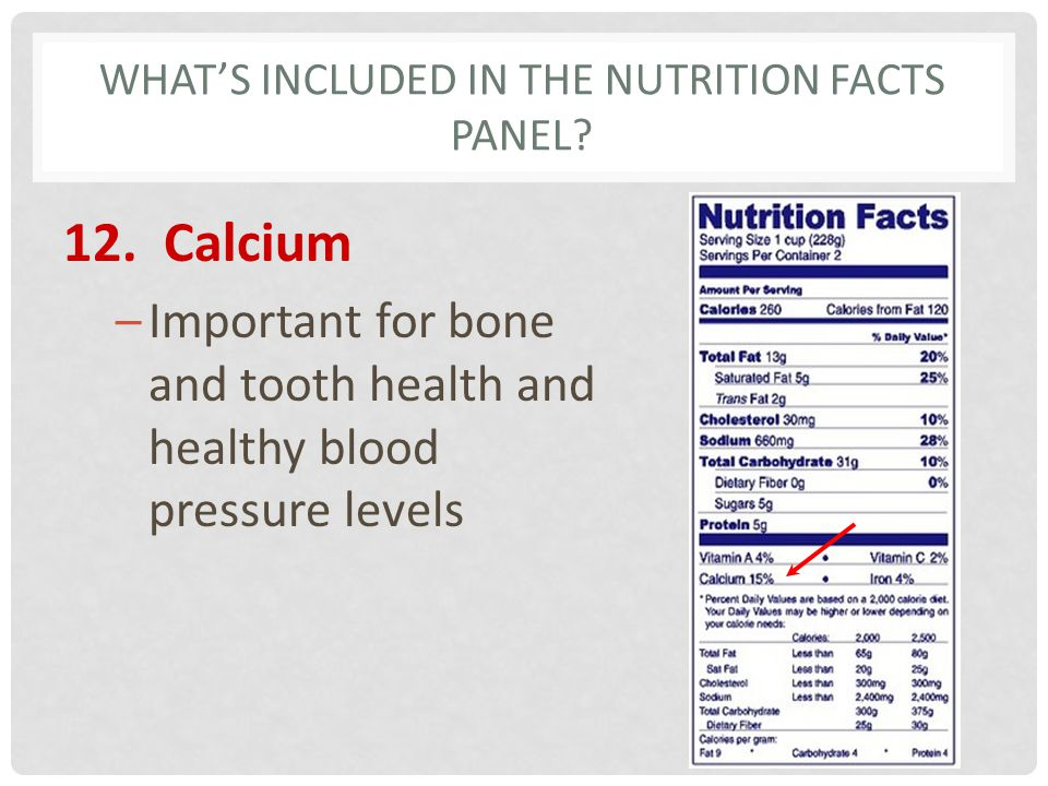 WHATS INCLUDED IN THE NUTRITION FACTS PANEL? 12. Calcium –Important for bone and tooth health and healthy blood pressure levels