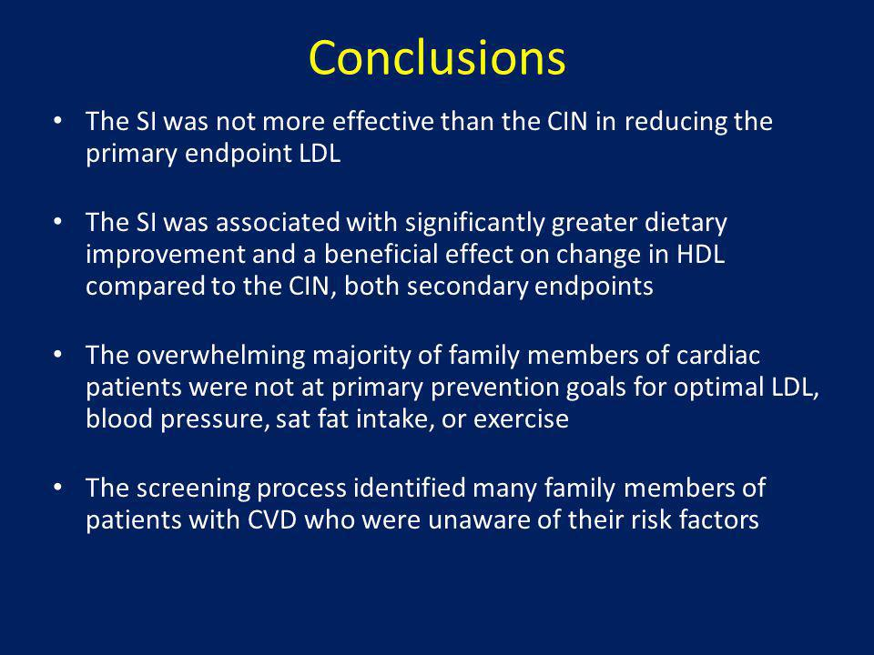 Conclusions The SI was not more effective than the CIN in reducing the primary endpoint LDL The SI was associated with significantly greater dietary i