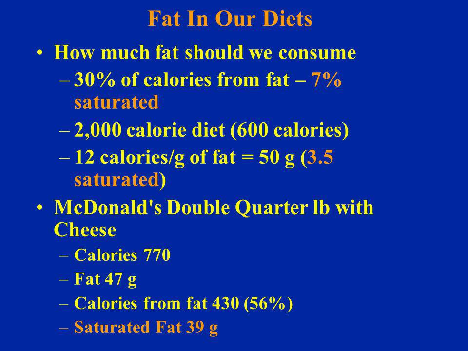 Fat In Our Diets How much fat should we consume –30% of calories from fat – 7% saturated –2,000 calorie diet (600 calories) –12 calories/g of fat = 50 g (3.5 saturated) McDonald s Double Quarter lb with Cheese –Calories 770 –Fat 47 g –Calories from fat 430 (56%) –Saturated Fat 39 g
