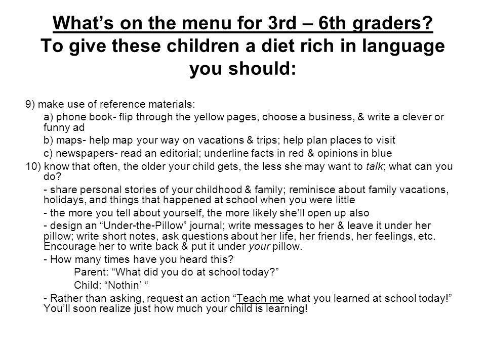 Whats on the menu for 3rd – 6th graders.