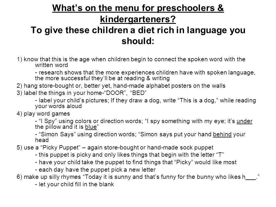 Whats on the menu for preschoolers & kindergarteners.