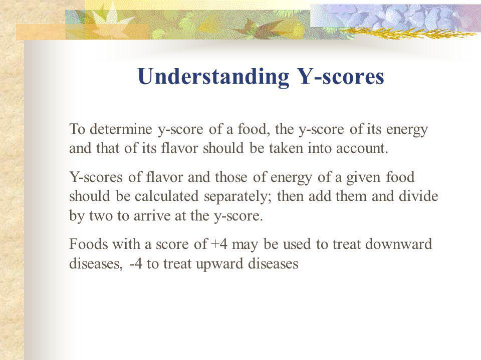 Y-Scores The author designed a comprehensive chart of scores by which foods and body types, diseases, moods and 4 seasons may be classified into yin a
